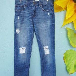 Banana Republic distressed boyfriend ankle jeans